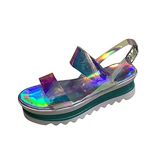 Lousioa Women Open Toe Breathable Beach Platform Sandals Slip-On Casual Ankle Buckle Strap Rubber Wedges Shoes Light Blue 39