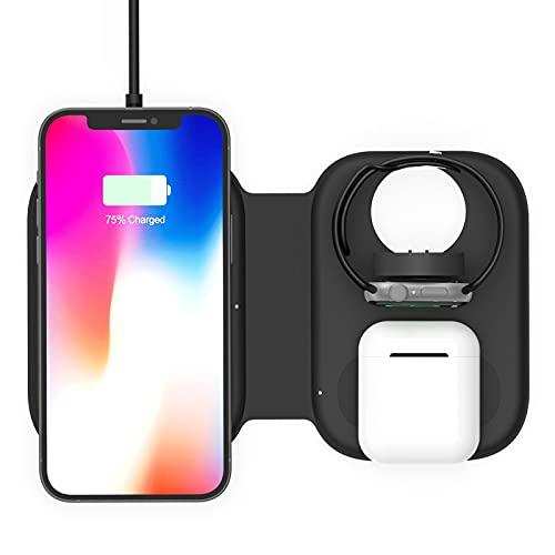 D-Rings Cargador rápido inalámbrico 3 en 1, delgado, portátil, compatible con Airpods Iwatch Series 6/5/4/3/2/1, Iphone12/11 Pro/xs Max/xr/x/8/8 Plus,Samsung S10 S9 S8 (negro)