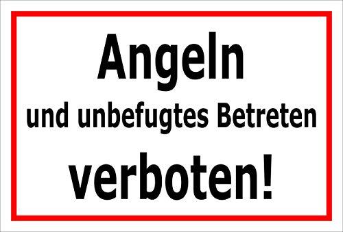 Melis Folienwerkstatt Schild Angeln Betreten verboten 30x20cm - 3mm Aluverbund – 20 VAR S00110-004-B