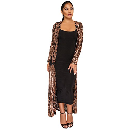 vnytop Women Black Totem Sequin Applique Long Sleeve Perspective Long Cardigan Cloak