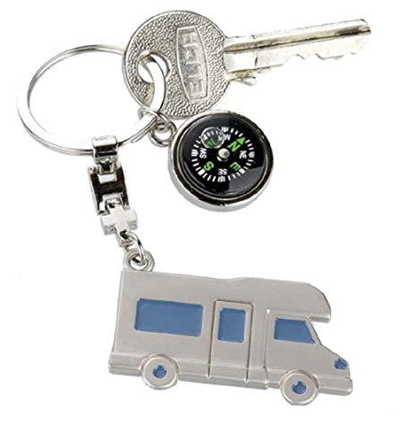 Metall Schlüsselanhänger Wohnmobil mit Kompass Geschenk Camper Silber