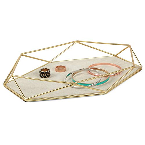 "Umbra 299481-221 Prisma Tray, Geometric Plated Jewelry Storage, 11' Length x 7.25' Height x 1.5"" Width, Matte Brass"