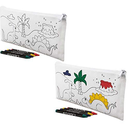 Lote 12 Estuches para Colorear Dinosaurios con 4 Ceras de Colores. Regalos Infantiles para cumpleaños. Detalles Infantiles para Eventos.