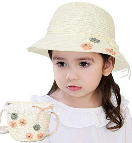 Lachi Strohhut und Handtasche Mädchen Sonnenhut Sommerhut Strandhut mit Blumendekoration UV-Schutz Süß