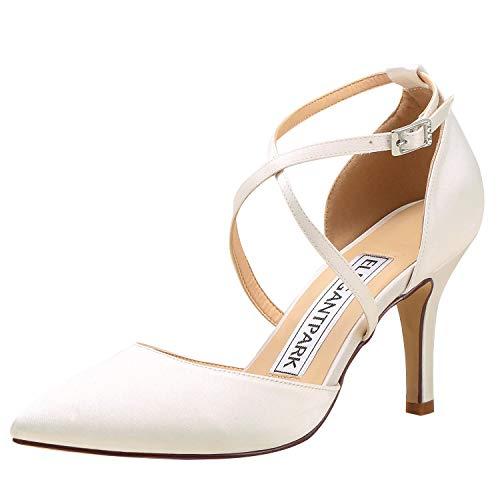 ElegantPark HC1901 Wedding Shoes for Bride Pointed Toe Wedding Heels for Women Cross Strap Bridal Shoes High Heels Pumps Satin Evening Party Prom Dress Shoes Ivory US 6.5