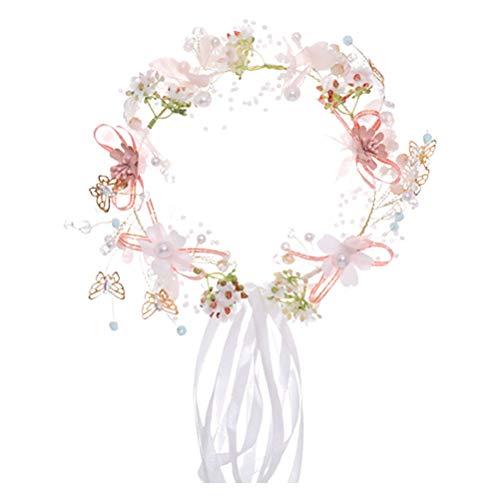 LEDMOMO 1Pc Cloth Floral Headband Simulated Bohemia Wreath Hair Hoop Garland Seaside Holiday Photo Prop Hair Accessory for Party Sea Bride