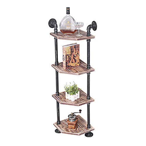 MBQQ Industrial Pipe Shelves Modern/Rustic Corner Book Shelves with Real Wood,5-Tier Corner Shelves Bookshelf Display Stand,Metal Standing Home Decor Shelf Units