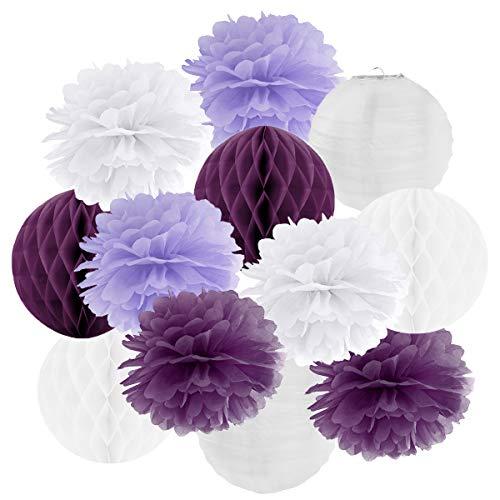 Hängedekoration 12 teilig Mix - Lampions, Wabenbälle/Honeycombs, Pompoms (lila/flieder/weiß)