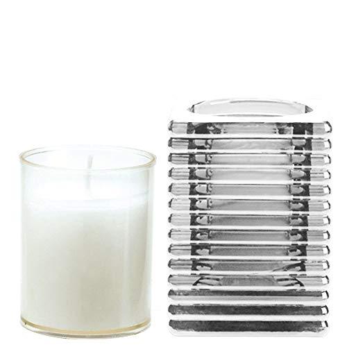 Spaas Kandelaar Highlight hoekig glas met navulling, paraffinewas, kunststof beker, 72 mm x 98 mm (L x B x H)