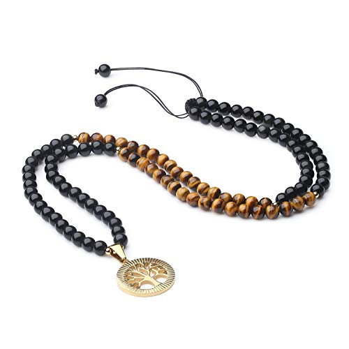 coai Unisex Verstellbare 108 Mala Yoga Kette Buddhistische Halskette Gebetskette aus Tigerauge und Obsidian mit Baum des Lebens Anhänger