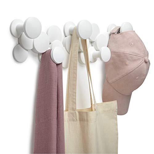 Umbra Bubble Haken – Dekorative Wandhaken für Jacken, Schals, Taschen, Rucksäcke, Handtücher und Mehr, Weiss