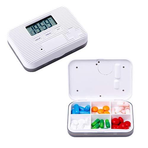 QWQ Pill Dispensers, Portable 6 Girds Pill Organizer Case Medicine Storage Dispenser Digital Alarm Reminders Tablet Pill Box