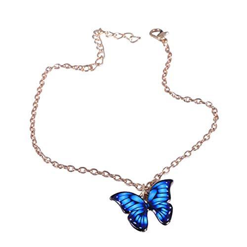 Ruby569y - Pulsera de aleación elegante con colgante de mariposa para mujer, mujer, madre, niña, cadena de aleación de colores para mujer, regalo de Navidad y Año Nuevo, zafiro, tobillera