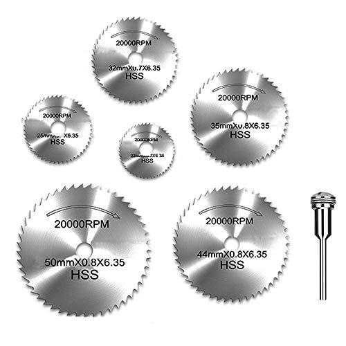 "YEEZUGO 6pcs 1/8"" HSS High Speed Steel Circular Saw Blades for Dremel Rotary Tool W/ Shank"
