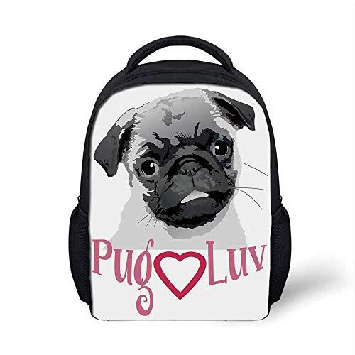Stilvoller Rucksack des Mops, Mops-Liebes-Bild-niedlicher Grauer getonter Zeichnung eines Hundehaustiertier-Spaß-Abbindungs-Druckes für Schulreise, 9,4 \'L x 3,5\' B x 12,2 \'H