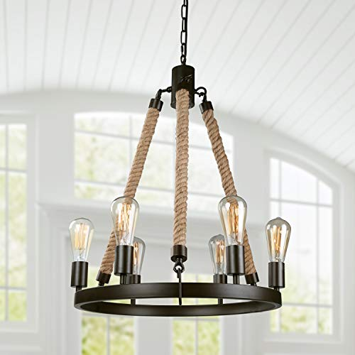 LNC A02993 Vintage 6 Rustic Pendant Lighting Chandeliers, Brown