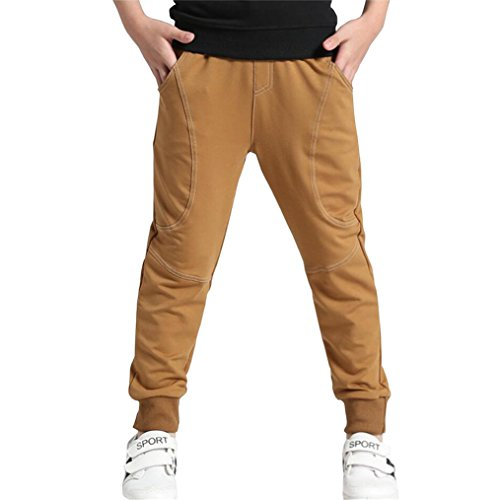 Rysly Boys Cotton Sweatpants Kids Casual Jogger Pants Tapered Ankle Pants 160 Brown