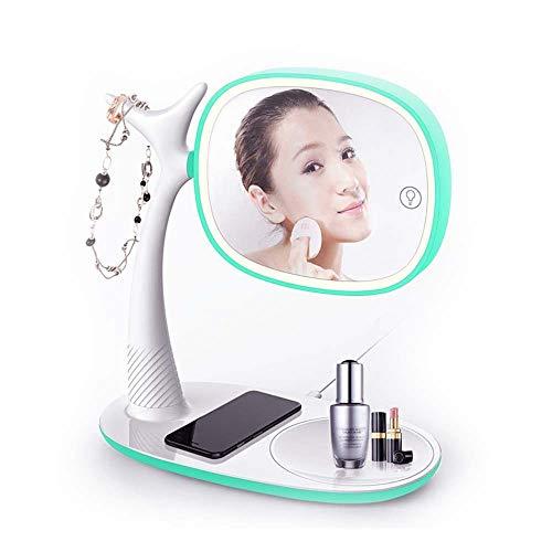 LG Snow Espejo De Maquillaje LED Lámpara De Mesa con Tapa Plegable De Doble Cara, Teléfono Móvil, Carga Inalámbrica, Almacenamiento Multifunción, Espejo De Belleza con Luz (Color : Green)