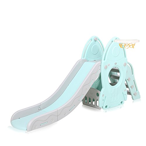 Baby Vivo Kids Slide Childrens Slide Playground Play Area Garden Slide Plastic Children Toys Slide for Outdoor and Indoor in Turquoise/Grey