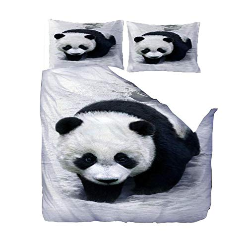 Duvet Cover 3D Print Double Bedding Quilt Cover Set 200x200 Cm Animal Black White Panda With Zipper Closure Ultra Soft Microfiber Duvet Cover for Adult, Kids And Teens, With 2 Pillowcases