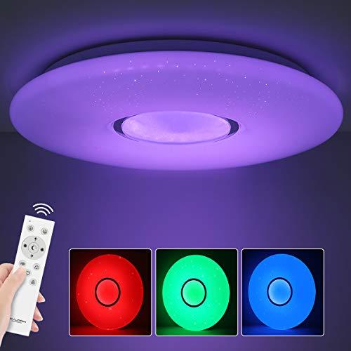 SHILOOK LED Deckenleuchte Dimmbar mit Fernbedienung, 24W Deckenlampe Farbwechsel, 38cm Rund Sternenhimmel, für Schlafzimmer Kinderzimmer Wohnzimmer, 3000K-6500K 2300lm, Modern Weiß