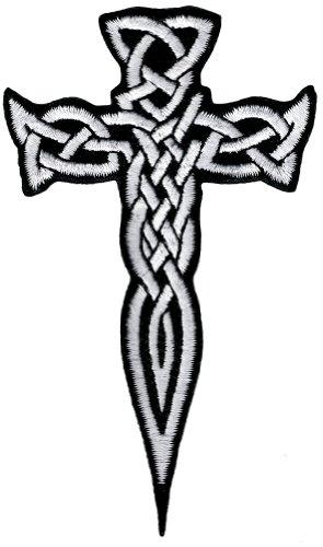 Celtic Cross Dagger White Iron-On Patch Embroidered Irish Crucifix