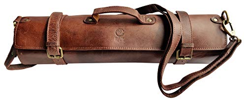 Leather Knife Roll Storage Bag   Elastic and Expandable 11 Pockets with Tool Pouch   Adjustable/Detachable Shoulder Strap   Travel-Friendly Chef Knife Case Roll (Walnut Brown)