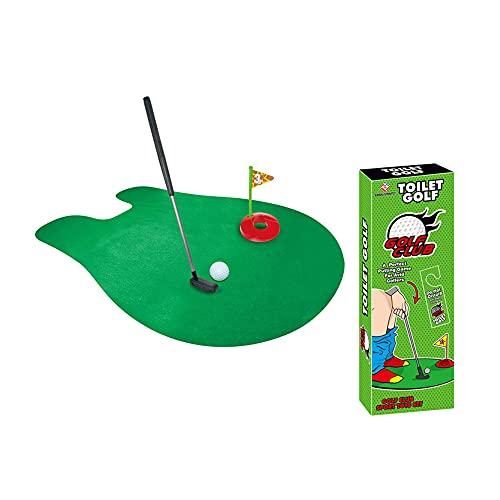 CJBIN Mini Golf WC, Juego de 7 Piezas Mini Golf Baño Juego del Mini Campo de Golf Regalos Divertidos para Baño y Aseo, Verde