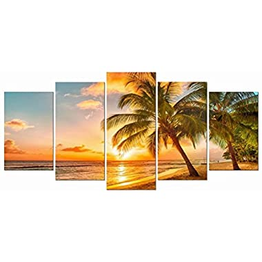 Wieco Art Cozy Sea Canvas Prints Wall Art Ocean Beach Pictures Paintings for Living Room Bathroom Home Decorations Modern 5 Piece Stretched and Framed Grace Contemporary Seascape Giclee Artwork