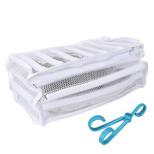 LegendTech 2 Stück Wäschenetz für Schuhe/Sneaker - mit Reißverschluss, 2Schuhhaken - 19x36x19cm - Waschbeutel für Sportschuhe Schuhe Mesh Bag Laundry Schuhe Waschen Tasche, Weiß