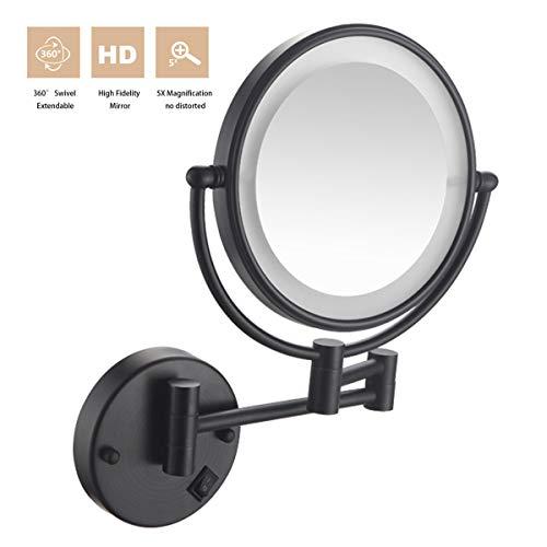 XIGG LED Miroir Grossissant Mural, 8 Pouces Miroir de Maquillage luminueux de Coiffeuse, 5X Grossissement, Double Face pivotant de 360°, Facile à Installer