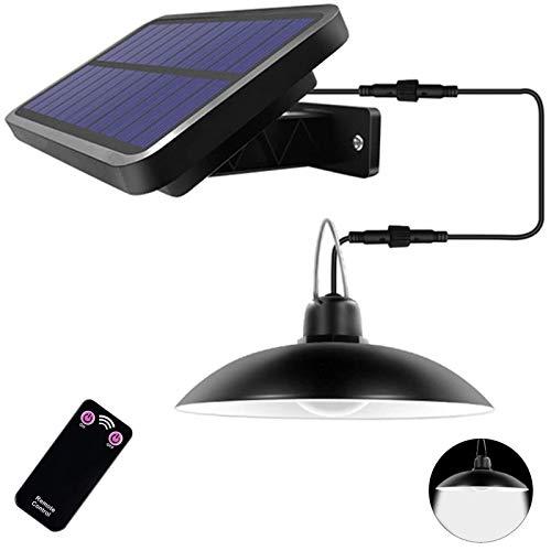 ENCOFT Solarleuchte für Außen LED Solarlampe mit Fernbedienung IP65 Wasserdichte Solar Hängelampen 2W Solar Pendelleuchte für Garten Bauernhaus Camping mit 3M Kabel (1 Licht,Kaltes Weiß)