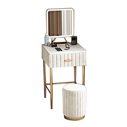 Schminktisch Organizer für Schlafzimmer Einfacher Schminktisch aus Holz Make-up Waschtisch Schlafzimmer Kommode Set Marmorplatte mit Hocker Spiegel Schmuck Kosmetik Aufbewahrungsschublade, Beige, 50