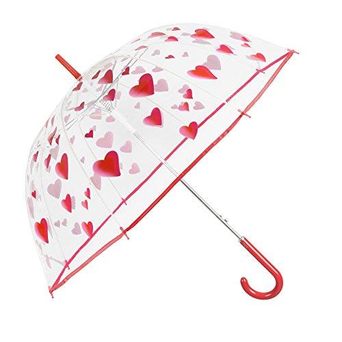 Transparent Schirm Damen - Durchsichtiger Regenschirm Kuppel Förmigen - Automatik Modisch Stockschirm mit Herzen - Durchmesser 89 cm - Perletti Time