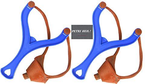 Set : 2 Stück Futterschleudern - blau Futterschleuder + gratis Petri Heil! Aufkleber