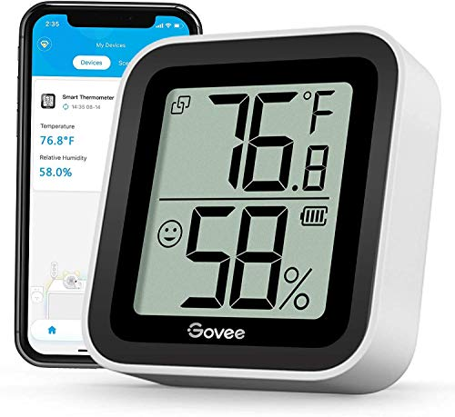Govee Mini Thermomètre Intérieur Hygromètre, Petit Moniteur Bluetooth Numérique de Haute Précision Capteur d'Humidité et de Température, Écran LCD pour Maison Chambre Serre Frigo Cave Garage