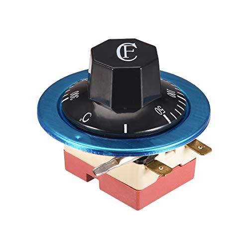 sourcing map NC AC 250 16A 50-300C interruptor de control de temperatura capilar termostato para horno refrigerador calentador de horno, longitud 2 m