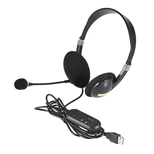 WANGQ Auriculares USB, auriculares para teléfono móvil Binaural, con micrófono con cancelación de ruido, ligeros y cómodos, con micrófono flexible universal para ordenador portátil y PC