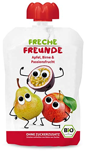 FRECHE FREUNDE Bio Quetschie Apfel, Birne & Passionsfrucht, Fruchtmus im Quetschbeutel für Babys ab 1. Jahr, glutenfrei & vegan, 100 g