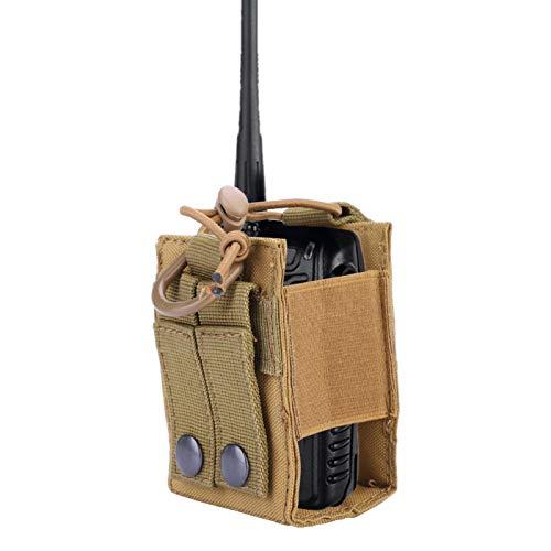 FOLOSAFENAR Estuche para Radio versátil Estuche para interfono Ligero con Hebilla de Correa, para Juegos de Caza de Combate al Aire Libre(Khaki)