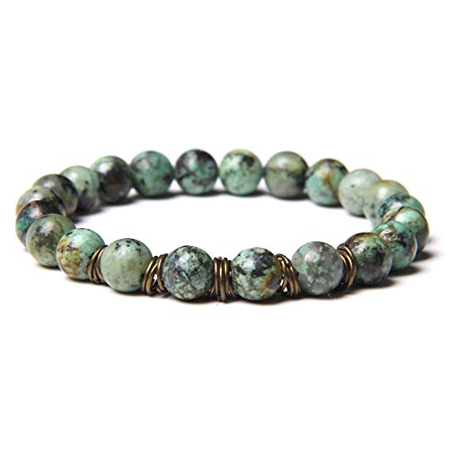AIMICONG Mens Bead Bracelets Turquois Bracelets For Men Gold Circles Charm Bangle 8 Mm Matte Stone Beads Bracelet Women Elastic Pulsera Jewelry E 23Cm