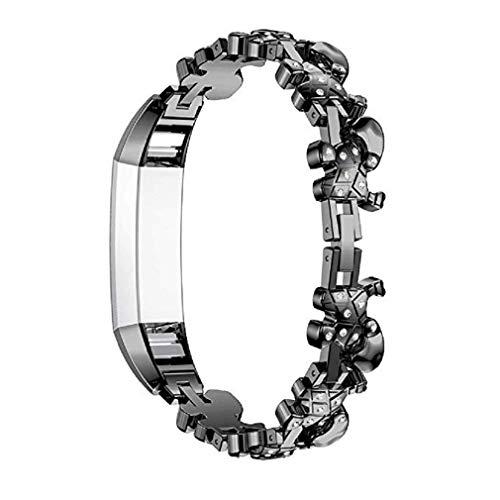 ICHQ Riemen Kompatibel Fitbit Alta HR Ace Frauen Einstellbar Metall Edelstahl Ersatz Elegante Schmuck Design Dressy Armband Diamant, Rose Gold, Silber, Schwarz (Schwarz)