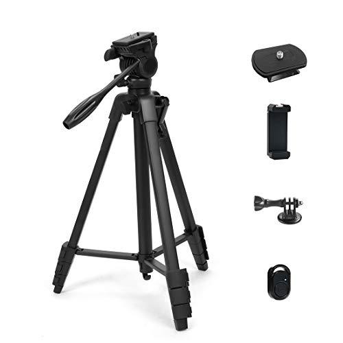 Phinistec 150cm Kamera Stativ für Handy, iPhone, DSLR, Gopro mit Hydraulischer Stativkopf, Smartphone Halterung, Bluetooth Fernauslöser & Gopro Adapter mit Tragetasche