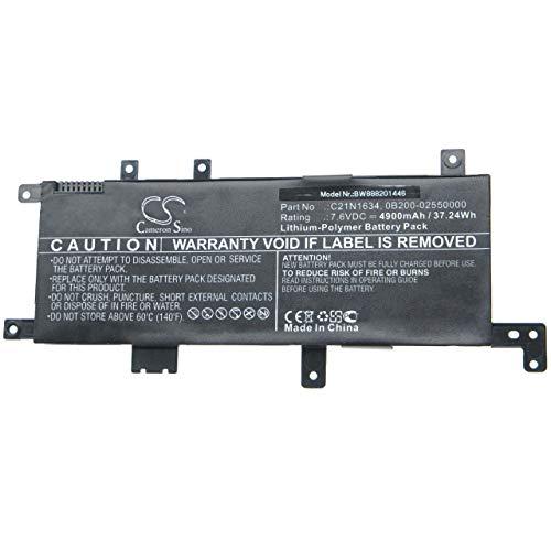 vhbw Batteria Compatibile con ASUS X542UF-GQ279T, X542UN-1B, X542UN-1C, X542UN-3F, X542UN-3G Laptop, Notebook (4900mAh, 7,6V, Li-Poly)