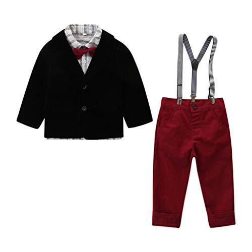 Janly Clearance Sale Conjunto de trajes para niños de 0 a 8 años, ropa de bebé y niños, corbata de pajarita, abrigo+pantalones, bonito regalo de Pascua, juego de ropa de bebé para 5 a 6 años (negro)
