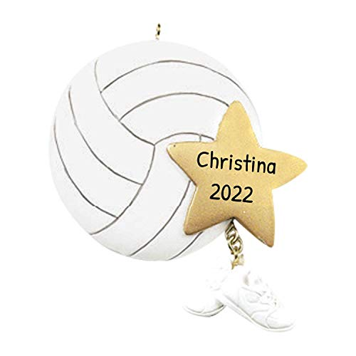 Personalized Volleyball Christmas Tree Ornament 2020 - Sports Ball Gold Star Sneakers Dangle Team Player Athlete Net Coach Hobby High School Profession Gift Year - Free Customization