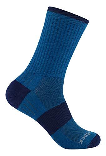 Wrightsock Profi Sportsocke, Wandersocke in azure blau, Anti-Blasen-System, doppel-lagig, Crew lang, Gr. M