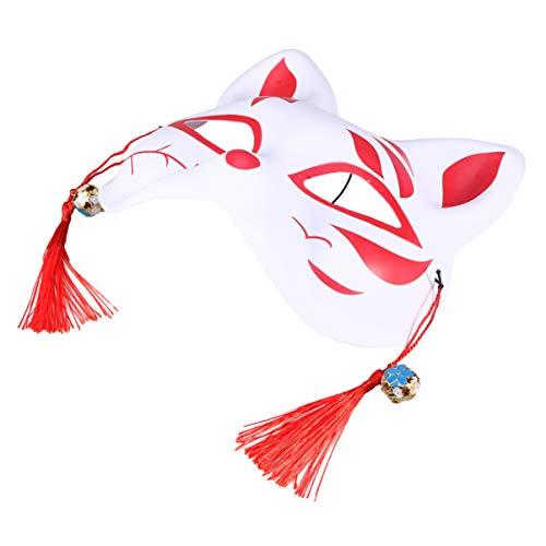 Holibanna Fox Media Cara Gato Japonés Kitsune Kabuki Masquerade Cosplay Fox Disfraz de Halloween Disfraz de Masquerade Prop para Adultos Niños Rojo