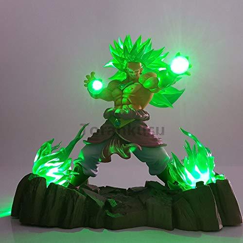 WXIAO HMMOZ Dragón Bola Z Super Saiyan Broly PVC Figuras de acción Dragón Bola Broly Figurine LED Iluminación Anime DBZ Broly Figurine Modelo de Juguete Animado Figura