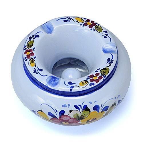 ポルトガル製 陶器 フタ付灰皿 ブルーフラワー柄 回りの人に優しい 灰が散らない蓋付き アッシュトレイ 上品な花柄 pfa-636bl